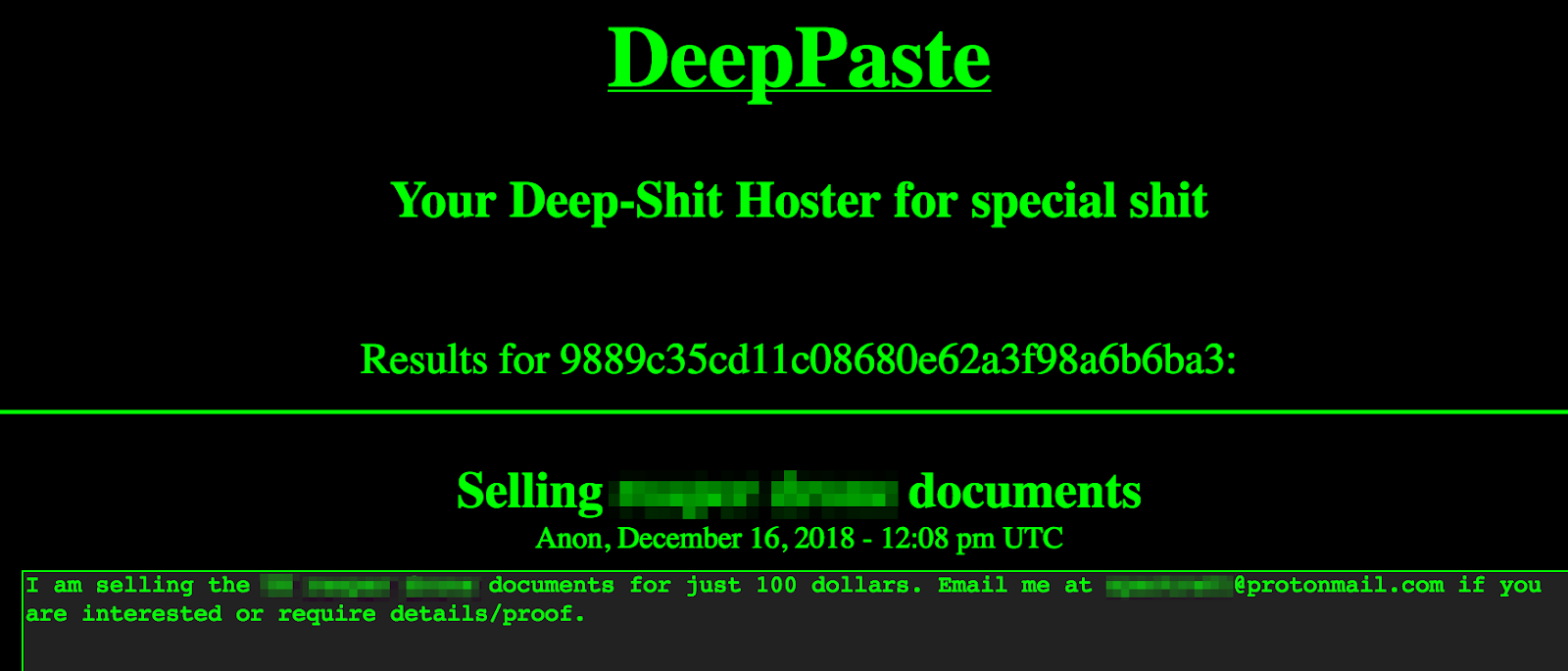DeepPaste - classified govt docs