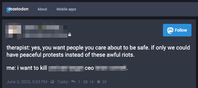 ceo threat mastodon