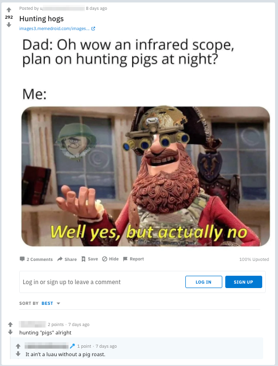 hunting pigs - reddit