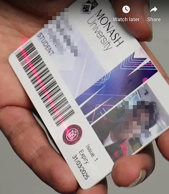 A Monash University student exposing their ID in a how-to tutorial
