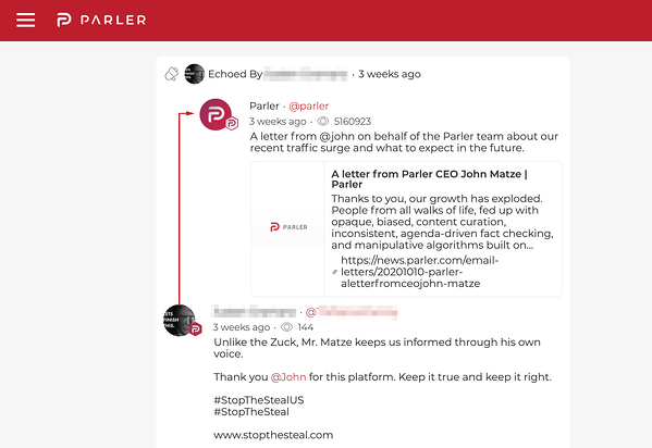 Screenshot of Parler user interface.