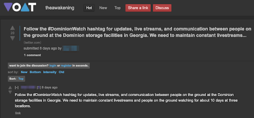 Voat submission promoting #DominionWatch.